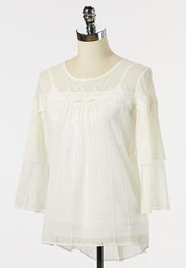 Plus Size Lacy Ivory Poet Top
