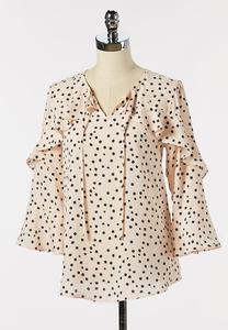 Dotted Ruffle Sleeve Poet Top
