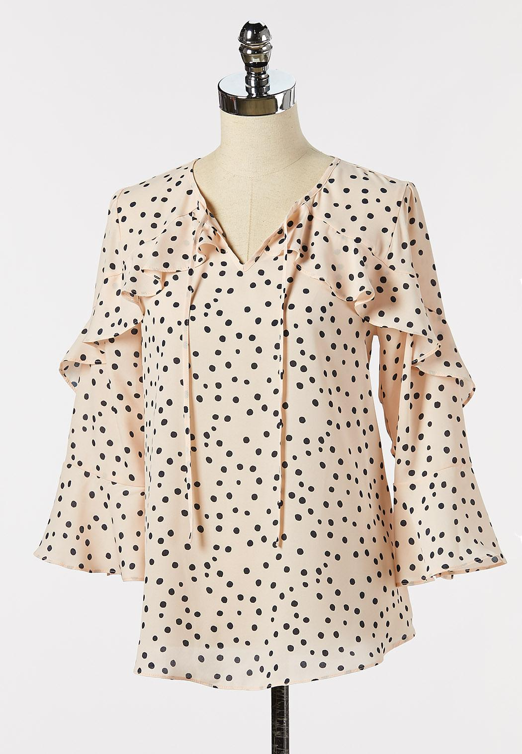 Plus Size Dotted Ruffle Sleeve Poet Top