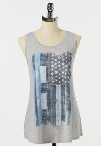 Plus Size Denim Flag Tank