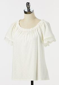 Plus Size Eyelet Lace Sleeve Top