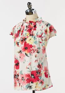 Plus Size Floral Ruffled Mock Neck Top