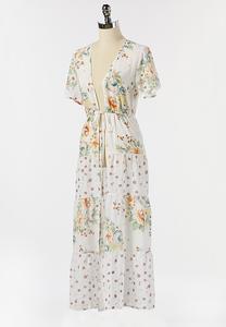 Floral Tie Waist Kimono