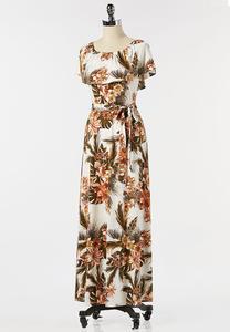 Petite Tropical Tie Waist Maxi Dress