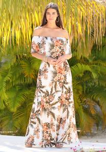 Petite Tropical Tie Waist Maxi Dress