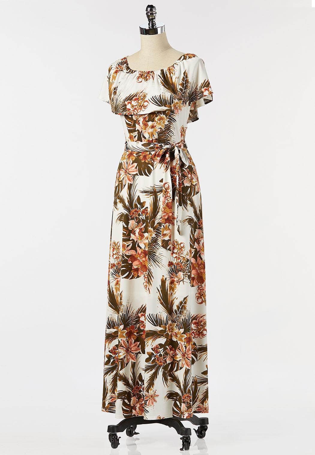 Plus Size Tropical Tie Waist Maxi Dress