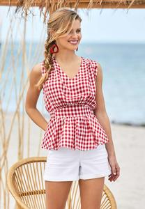 Plus Size Gingham Peplum Top