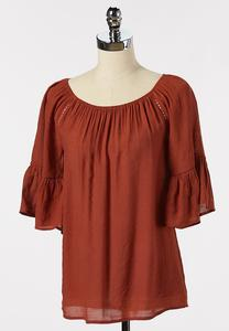Solid Bell Sleeve Poet Top