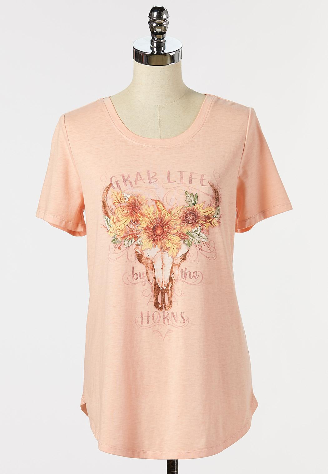 Plus Size Grab Life By Horns Tee