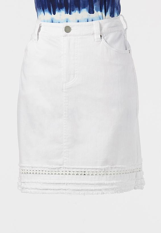 Plus Size Eyelet Denim Skirt