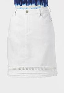 Plus Size Eyelet Denim Skirt