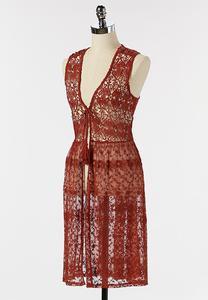Plus Size Picante Crochet Mesh Vest