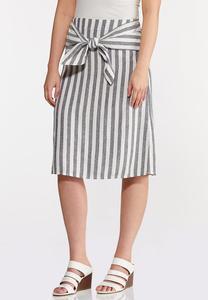 Plus Size Tie Front Linen Skirt