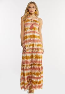 Plus Size Tiered Tie Dye Maxi Dress