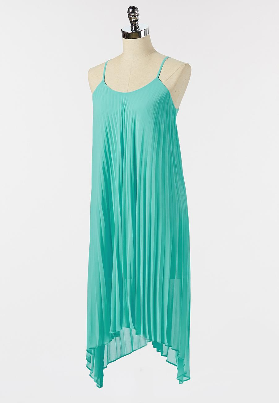 Pleated Turquoise Dress