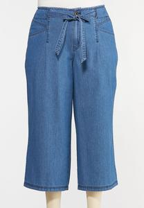Plus Size Cropped Denim Pants