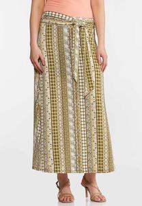 Plus Size Printed Stripe Maxi Skirt