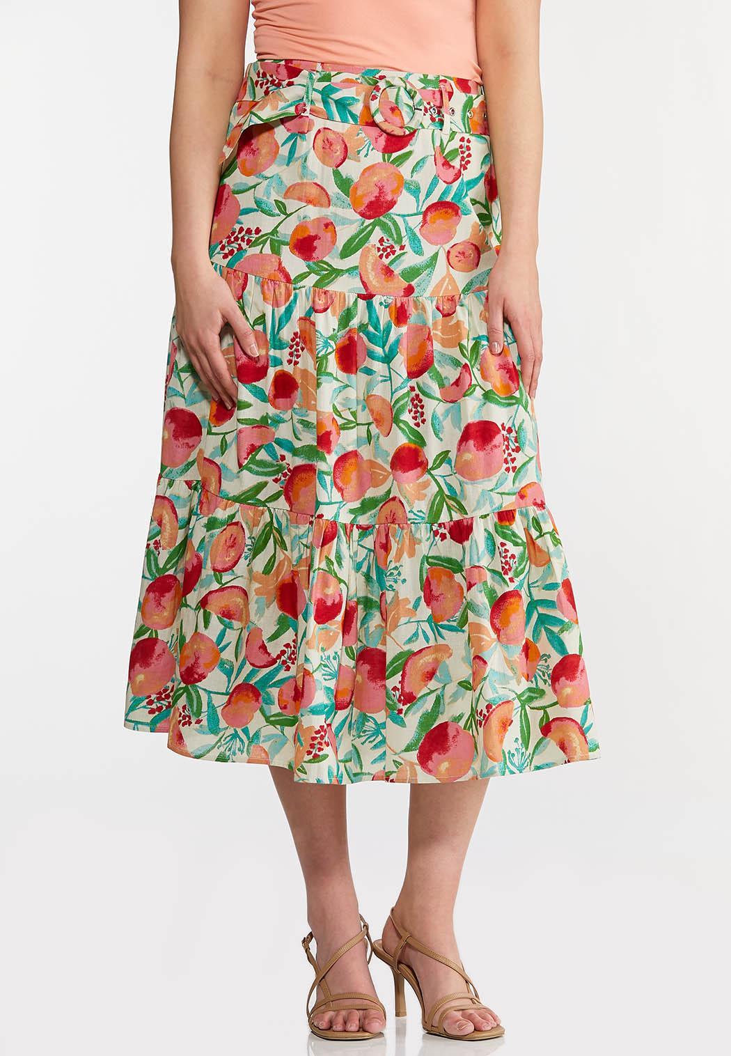 Plus Size Fruit Belted Midi Skirt