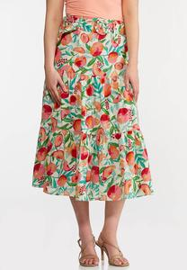 Plus Size Fruit Belted Midi Skirt