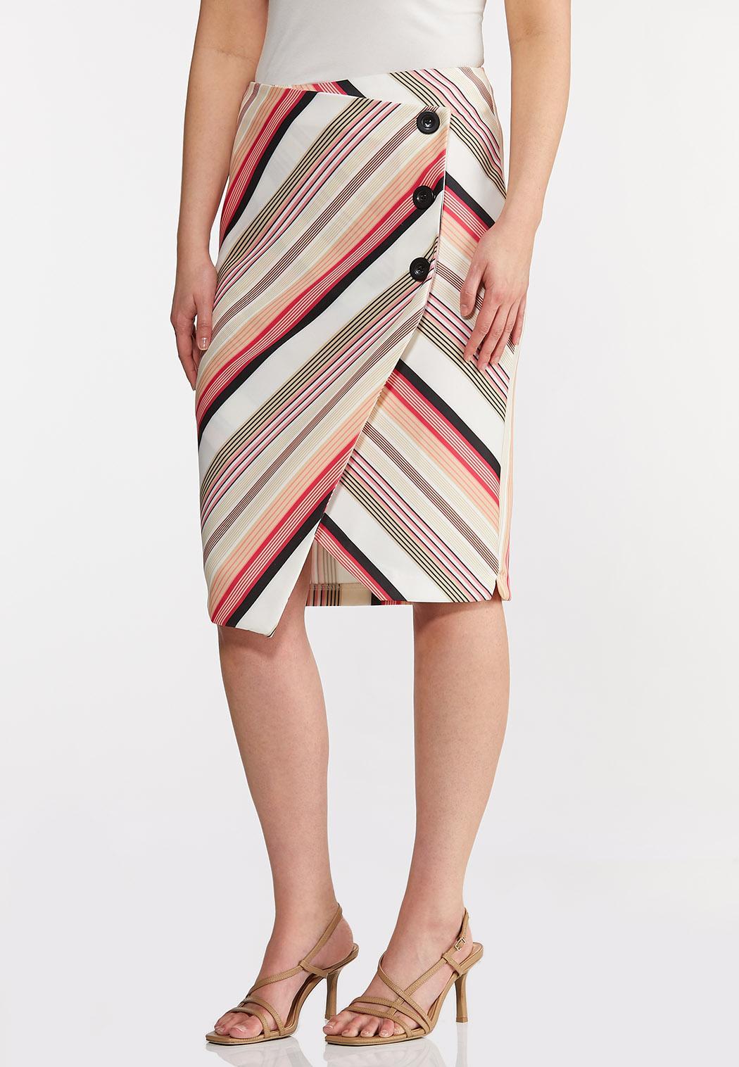 Plus Size Button Raspberry Stripe Skirt