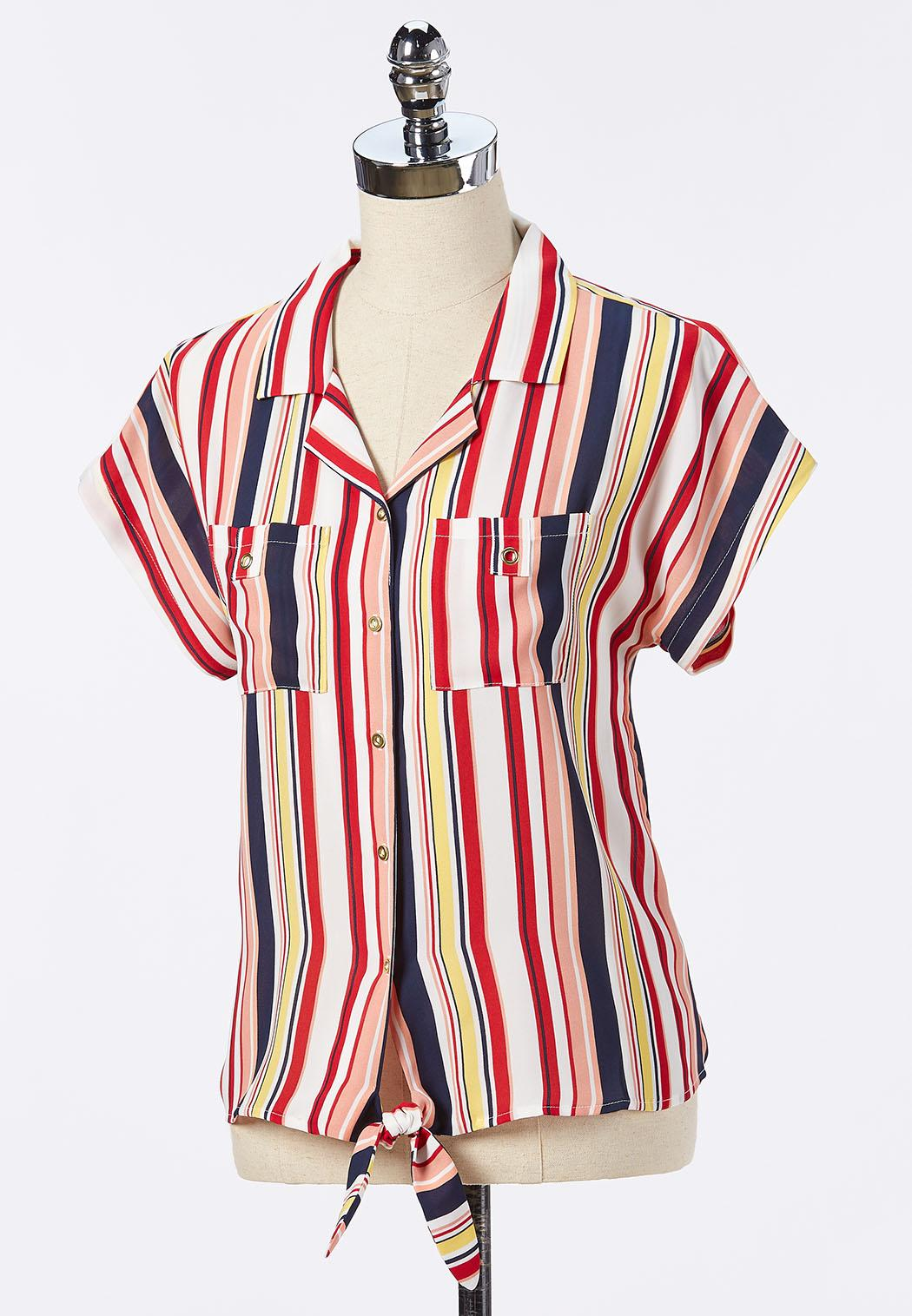 Plus Size Striped Button Tie Front Top