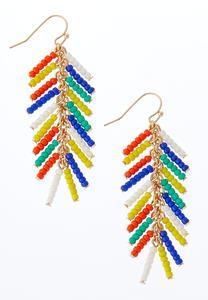 Rainbow Bead Dangle Earrings