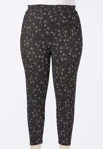 Plus Size Cropped Floral Leggings