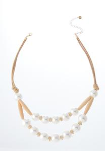 Double Row Pearl Cord Necklace