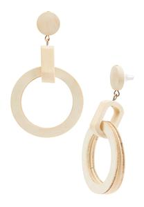 Double Wood Circle Earrings