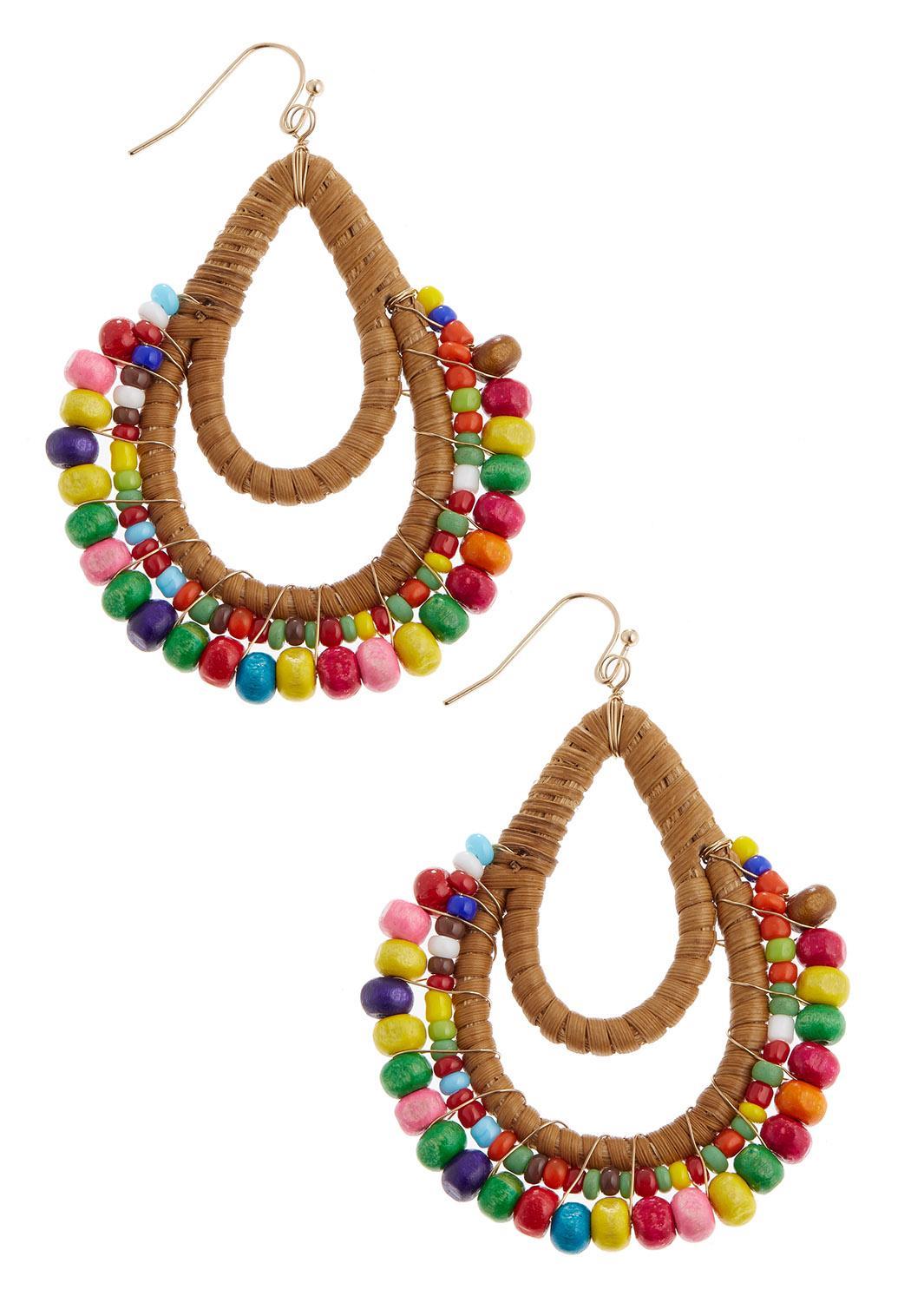 Rainbow Bead Wood Earrings