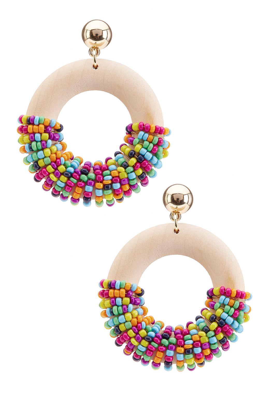 Multi Seed Bead Circle Earrings