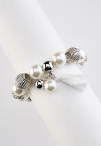 Mixed Pearl Tassel Stretch Bracelet