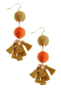 Two-Toned Wrapped Tassel Earrings