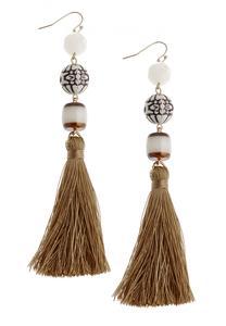 Tribal Bead Tassel Earrings
