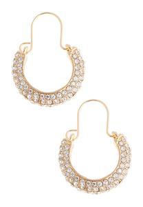 Vintage Rhinestone Hoop Earrings
