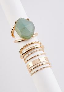 Stone And Band Ring Set