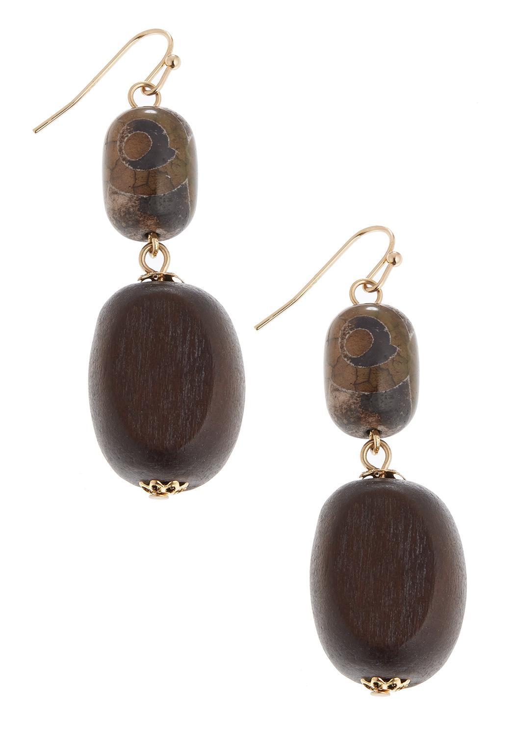 Tiered Wood Bead Earrings