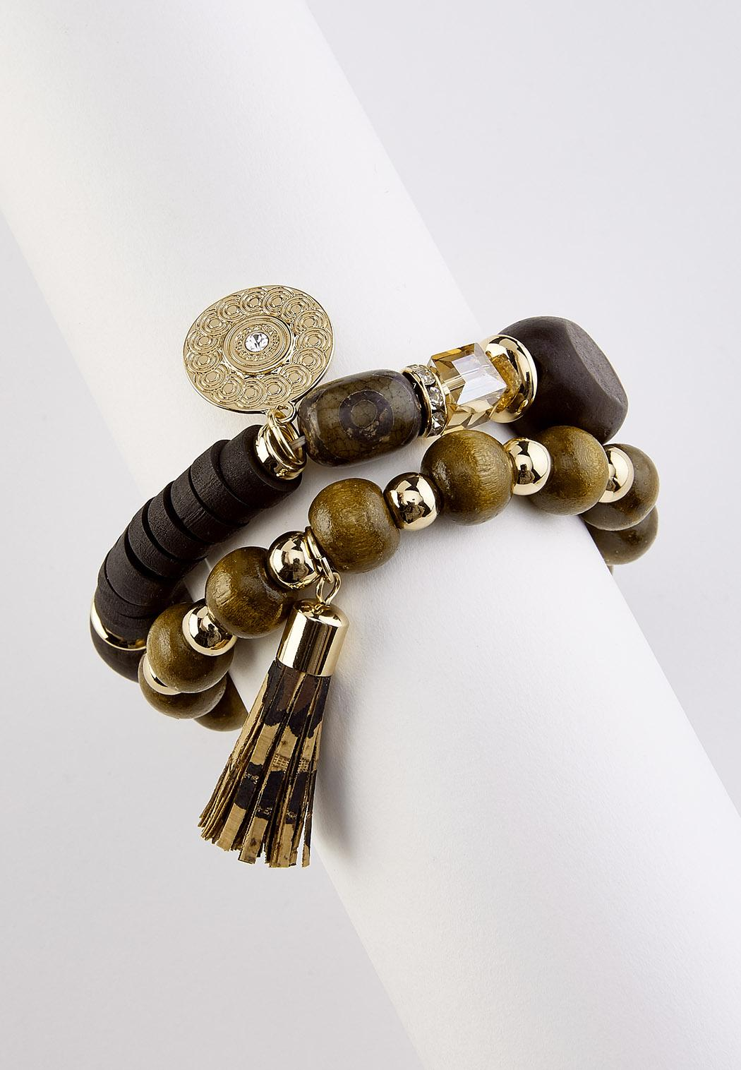 Tassel Wood Stretch Bracelet Set