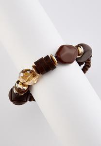 Wood Glass Bead Stretch Bracelet