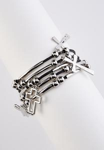 Layered Cross Cord Bracelet