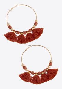 Large Tassel Hoop Earrings