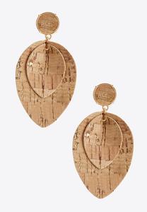 Layered Cork Dangle Earrings