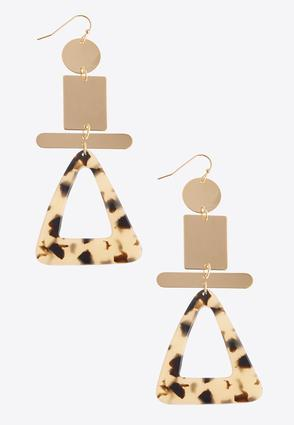 Geo Tortoise Triangle Earrings