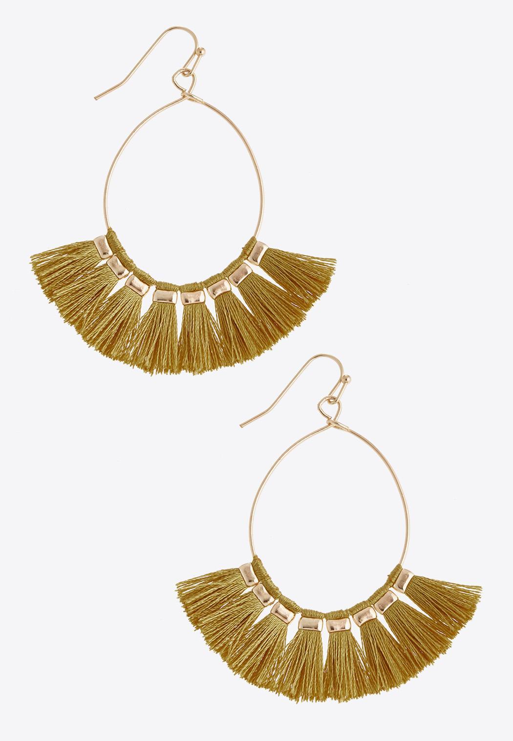 Tassel Fan Wire Hoop Earrings