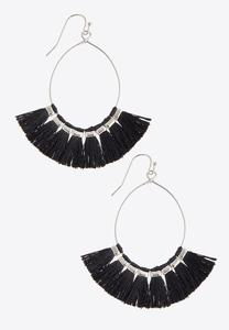 Tassel Fan Wire Hoop Earrings