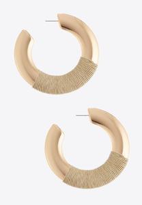 Raffia Wrapped Metal Hoop Earrings