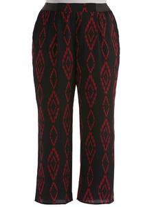 Elastic Tab Diamond Print Palazzo Pants-Plus
