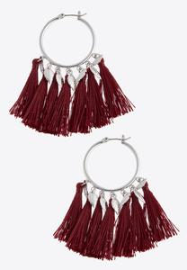 Leaf Charm Tassel Earrings