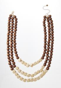 Triple Row Wooden Necklace