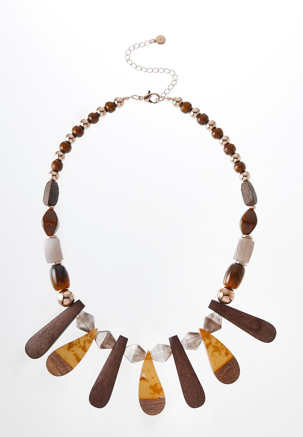 Tribal Wood Resin Necklace